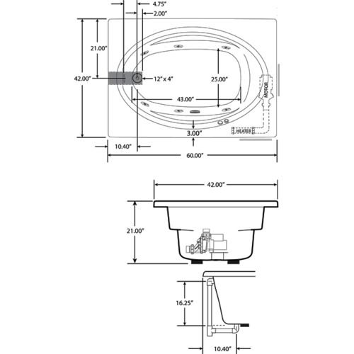 Jacuzzi J4D6042WLR1XXW WLR 1XX 60-Inch x 42-Inch Signature Drop in Whirlpool Bathtub with 6 Jets, Air Controls, Left Drain and Right Pump
