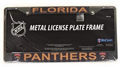 Stockdale Florida Panthers Carbon Fiber Laser Frame Chrome Metal License Plate Tag Cover