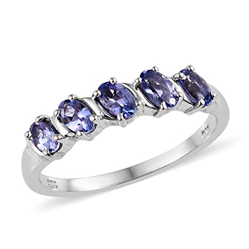 (Oval Tanzanite Ring 925 Sterling Silver Platinum Plated Jewelry for Women Size 6 Ct 0.9)