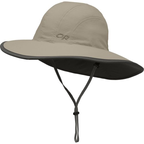Outdoor Research Kids' Rambler Sun Sombrero, Khaki/Dark Grey, Large