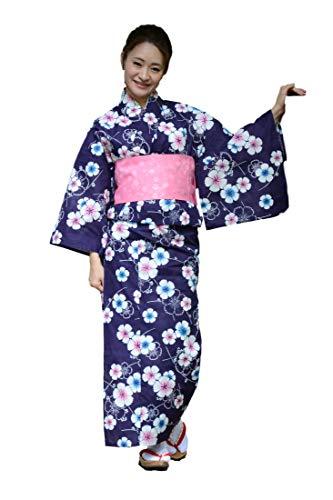Sakura Women Japanese Yukata (Summer Kimono) & Pre Tied OBI Belt & Geta Sandals/Indigo Sakura Pattern
