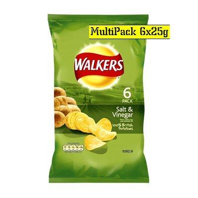 Walkers Salt & Vinegar Crisps 25g x 6 per pack