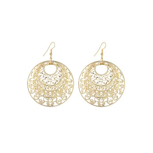 IDB Delicate Filigree Dangle Inner Circle Drop Hook Earrings - Available in Silver and Gold Tones (Gold Tone) ()