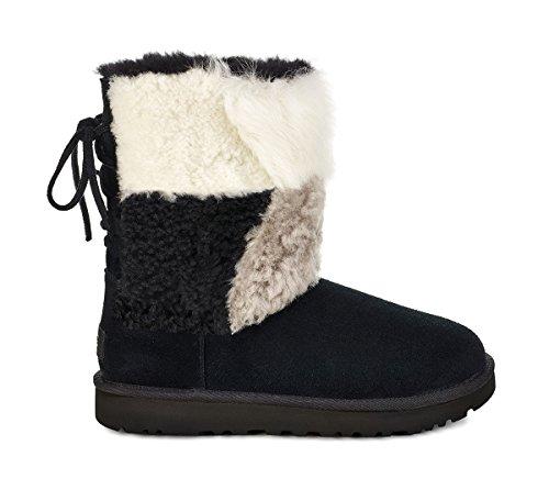 UGG Womens Classic Short Patchwork Fluff Boot, Black, Size 9 (Australia Boot Short Classic Ugg)