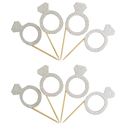 Price comparison product image Glitter Diamond Ring Cupcake Toppers Silver Party Cupcake Decorations for Wedding / Engagement / Bridal Shower / Birthday / Baby Shower / Graduation Party Dessert Decorations Topper,  Pack of 50