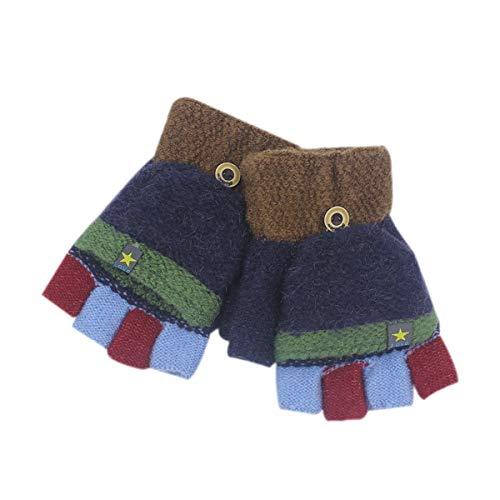 RARITY-US Unisex Warm Soft Winter Knit Gloves for Kids Boys Girls Baby Glove with Stripe Mittens (3 to 8Y)