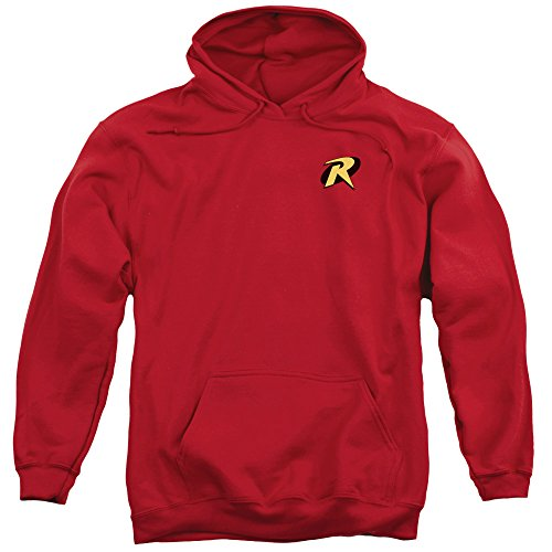 [Batman DC Comics Robin Logo Costume Superhero Adult Pull-Over Hoodie] (1960s Batman And Robin Costumes)