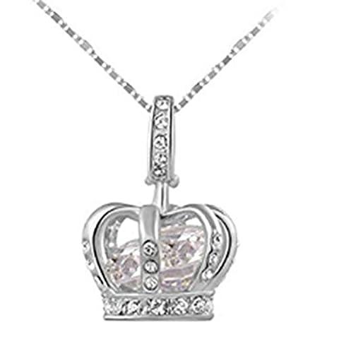 TraveT Girls Women Crown Princess Pendant Necklace Zircon Jewelry - Princess Crown Water