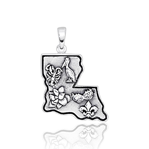 WithLoveSilver Solid 925 Sterling Silver Louisiana State Map and Five Symbols Fleur De Lis Pendant