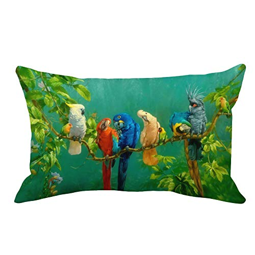 Aremazing Throw Pillow Covers Watercolor Rectangle Abstract Colored Bird Pattern Home Decorative Pillowcase Super Soft Throw Pillow Case Cushion Cover 12 x 20 Inches -