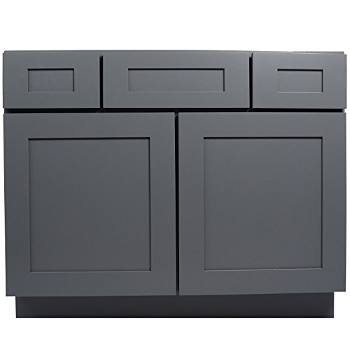 Everyday Cabinets 42 Inch Bathroom Vanity Single Sink Cabinet In Shaker Gray With Soft Close