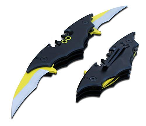 Batman Bat Folding Dual Twin Double Blade Spring Assisted 5 Colors Pocket Knife Tactical Belt Clip Black Yellow Silver Blue Red Knives