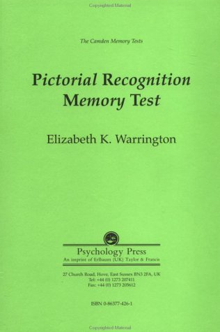 The Camden Memory Tests: Pictorial Recognition Memory Test (Volume 4)