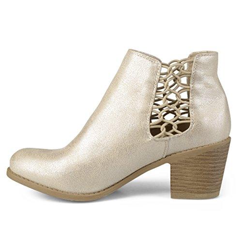 Journee Collection Mujeres Stacked Wood Heel Botines De Cuero De Imitación De Oro