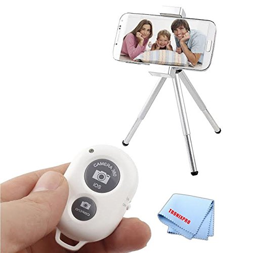 White Bluetooth Wireless Remote Control Camera Shutter for Apple iPhone 6s, 6s Plus, iPhone 6, iPhone 6 Plus, iPhone 5c, iPhone 5s, iPhone 5, iPhone 4s, iPhone 4,Motorola Nexus 6, Motorola Droid Turbo, Motorola Moto G, Motorola Moto X (2nd Generation), Motorola Moto X Pro, Motorola Moto G, Motorola Moto X, LG G3, LG G FLEX 2, LG G FLEX, LG G2, LG NEXUS 5 and Other Smartphones + Tronix Microfiber Cloth