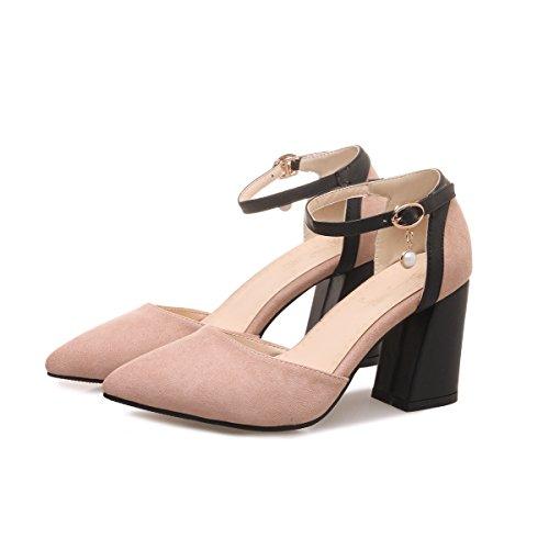 QINX Frauen Spitzen Zehe Block Flach Mund Prom High Heels Sandalen Schuhe Pumps
