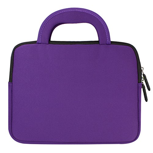 Evecase RCA Pro10 Edition II 10.1 Inch Tablet RCT6203W46KC Neoprene Sleeve Case, Slim Briefcase w/ Handle & Accessory Pocket / Ultra Portable Travel Carrying Case Sleeve Portfolio Pouch Cover - Purple
