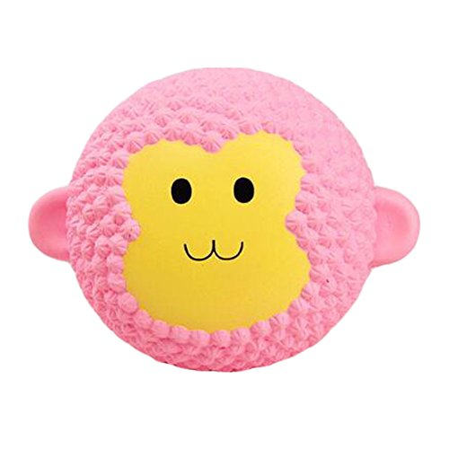 AhlsenL Funny Squishies Pink Monkey Cake Slow Rising Toys Rainbow Jumbo Cream Scented Time Killer Squeeze Kid Toy Charm Gift for Stress Relief (Pink monkey cake)