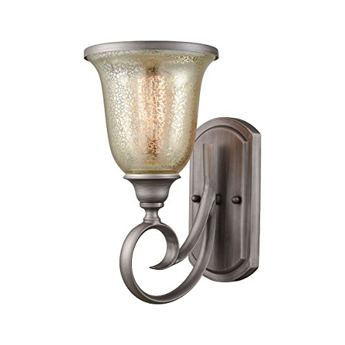 Elk Lighting CN230177 Georgetown 1-Light for The Bath in Weathered Zinc with Mercury Glass Vanity Wall Sconce ()