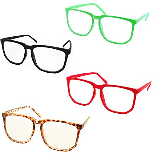[FancyG® Retro Vintage Inspired Classic Nerd Clear Lens Glasses 4 Pieces Set Black Red Blue Leopard] (Best Nerd Girl Halloween Costume)