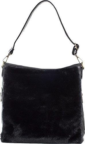 Black Purse Faux Sure Sourpuss Brand Hobo Fur g54vq
