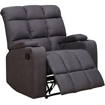 Handy Living Prolounger Storage Arm Wall Hugger Microfiber Recliner With A  Storage Area And Cup Holder