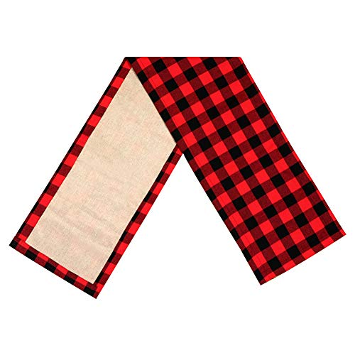 PartyTalk Christmas Table Runner Red Black Cotton Buffalo Check Plaid and Burlap Double Sided Table Runner for Holiday Winter Home Decorations, 14 x 72 Inch]()