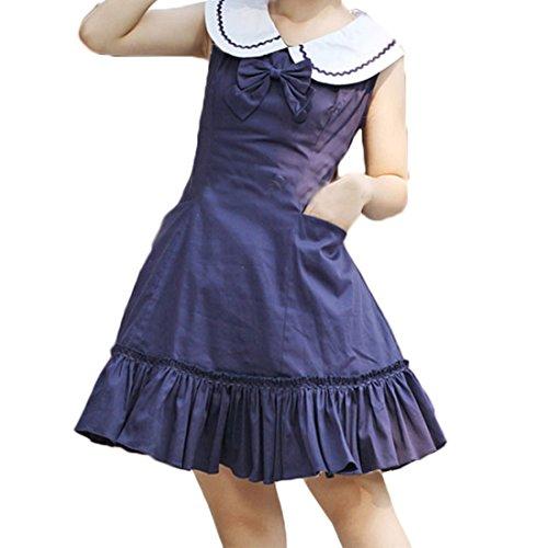 Lolita Aermellos Dunkle Cosplay Marine Kleid Frauen Kleid Chiffon Partiss Damen Kostuem E07nw