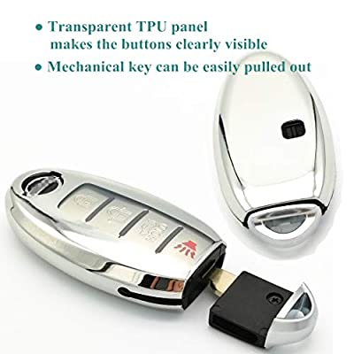Cajek for Nissan Key Fob Cover TPU Skin Case Protector with Keychain Compatible with 2020 2020 2020 Nissan Altima Sentra Rogue Murano Maxima Versa Leaf Titan 3 4 5 Buttons Smart Key (Silver): Automotive
