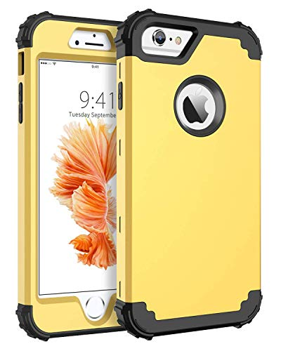BENTOBEN Case for iPhone 6S/iPhone 6, 3 in 1 Heavy Duty Rugged Hybrid Hard PC Soft Silicone Bumper Shockproof Anti Slip Protective Case Cover for Apple iPhone 6S/iPhone 6 (4.7 Inch), Yellow/Black (6 Yellow Iphone Case)