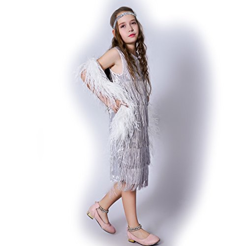 Girl 's Fashion Flapper Satin Dress Costume For Children (7-9 Y, Silver)