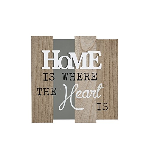Danya B. KS19028B Inspirational Rustic Décor with Quote- Home Is Where The Heart Is Wooden Wall Plaque (Heart Message Plaque)