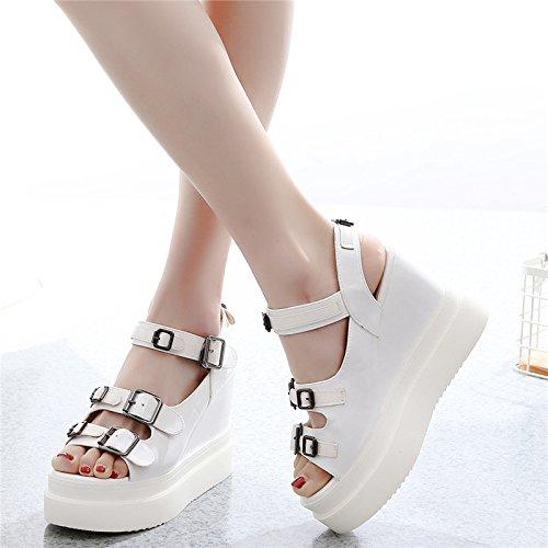 di spiaggia a alti primavera donna tacchi GTVERNH piattaforma libero scarpe 35 spessore tempo 10 i fibbia sandali white 12cm tacchi summer inferiore YqxnABUCWw