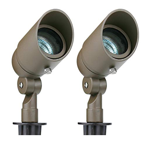 Lumina Lighting Low Voltage Landscape Cast-Aluminum Spotlight, Bronze Finish SFL0104-BZ2 20W MR16 Halogen Bulb Included -