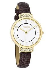 Ferenzi Women's | Elegant Rhinestone Watch with Brown Croc Band | FZ16502