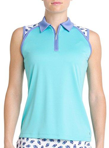 IZOD Golf Womens Sleeveless Polo Shirt Aqua Blue/Golf Shoe Print (Medium)