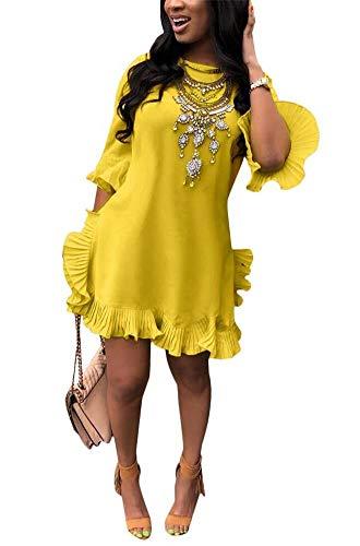LKOUS Women Summer Short Sleeve Round Neck Ruffles Hem Loose Midi Mini Dresses Casual Plus Size Yellow ()