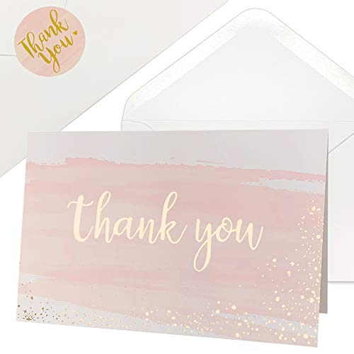 Thank You Cards for Baby Shower   Wedding   Bridal Shower   Business, 48 Blank Notes with Envelopes & Stickers, Gold Foil Watercolor Thank You Greeting Cards