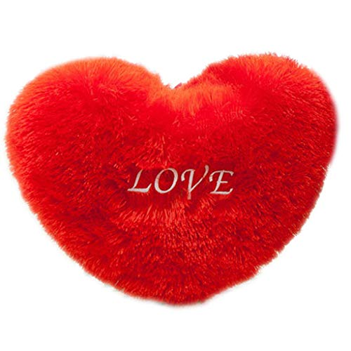 HUImiai Red Love Heart Shape Throw Pillow, Letters Embroidered Long Fluffy Plush Soft Cushion Pad, Sofa Home Decor, Valentine's Day Wedding Gift,5070 - Shape Bt56