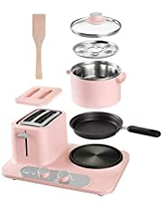 WSJTT Stainless Steel 3 In 1 Extra-Wide Toaster Slide-Out Crumb Tray Egg Cooker and Vegetable,Bacon and Meat Steamer-One Touch Controls (Color : Pink)