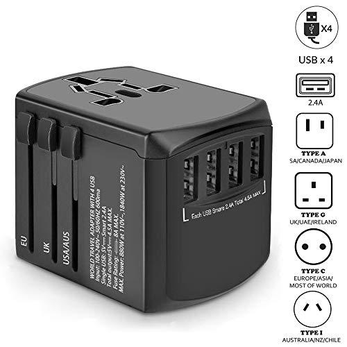ZGGCD Travel Adapter, International Power Adapter, Universal Plug Adaptor with 4 USB Ports, High Speed 4.5A Worldwide…