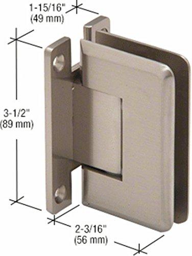 CRL Pinnacle 037 Series Brushed Nickel Wall Mount Full Back Plate Standard Hinge