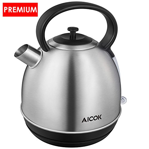 Aicok Electric Kettle Quick Boil Tea Kettle 1500Watts Durable Plus Stainless Steel Water Kettle 1.7 Liter Dome Tea Boiler with Large Spout and Cool-Touch Handle, Auto Shut Off, Silver