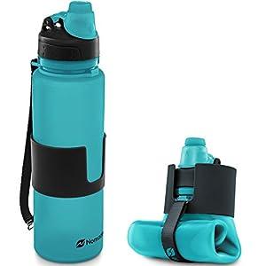Nomader Collapsible Water Bottle – Leak Proof Twist Cap – BPA Free, 22 oz