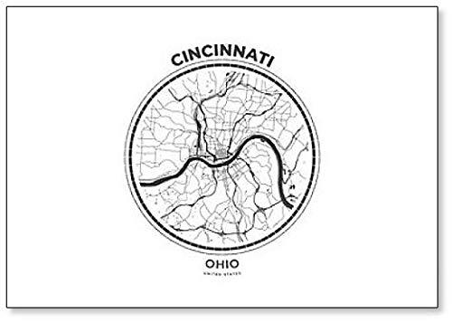 Map Illustration of Cincinnati, Ohio Fridge Magnet