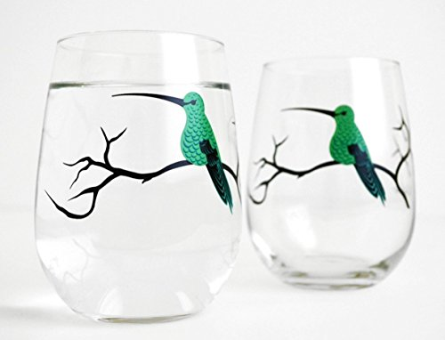 Hummingbird Stemless Glasses - Set of 2 Hummingbird Glasses, Stemless Wine Glasses, Bird Glassware Happy Bird Day Collection