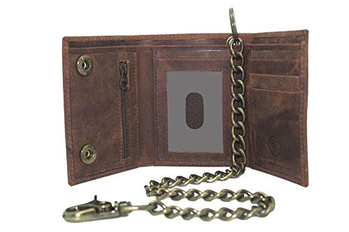 Men's Brown Hunter Leather Trucker Biker Trifold Steel Chain Wallet 111 with Gift - Mens Chain Wallet