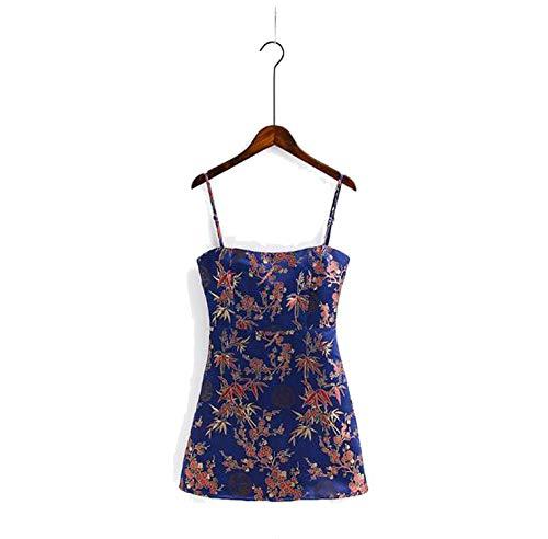 ghhingj dresses Women Jacquard Satin Cami Dress Woman Backless Spaghetti Strap Beach Summer Clothing,Navy Blue,L