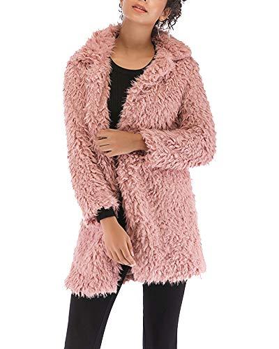 Longue Coat Duffle Manteau Pink Manche Youxin Jacket Chaud Fausse Fourrure Hiver Femme Cardigan wIYcq6