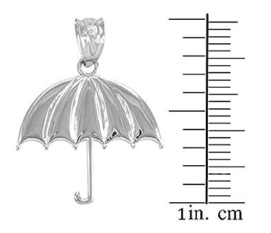High Polish 925 Sterling Silver Upright Umbrella Pendant Necklace